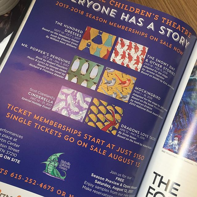I just saw this ad in @nashvillearts for @nashvillechildrenstheatre featuring all the original paintings I created for their 2017-2018 season. Their performances are stellar, hilarious, and they were awesome people to work with! #aarongrayum #nashville #theatre #nashvillechildrenstheatre #art