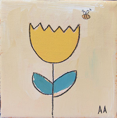 "Tulip and the Bee 5""x5"""