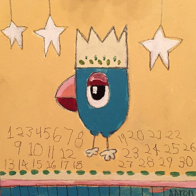"""Thirty Birdy"" 10x10. My wife and I were certified as foster parents in the fall, so whenever kids come to stay with us, even if just for the night, we give them paints and a canvas and let them paint whatever they want, and we all do it together. I painted this one last night, and it's particularly special to me :) #nashville #bird #foster #fun #aarongrayum #art #king #numbers #instartlovers #ARTSTARSMAG"
