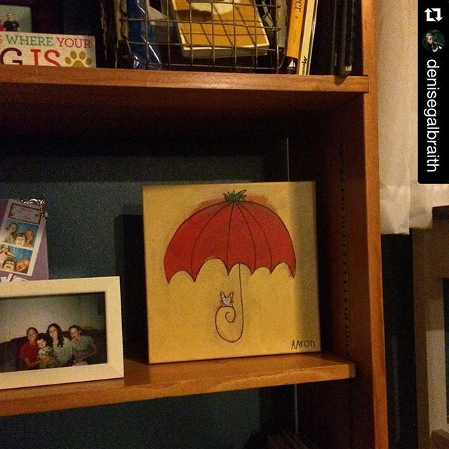 I never get to see where my art ends up, so thank you @denisegalbraith for posting this pic :)・・・finally found a home for this adorable #tomatofest painting from @aarongrayum it's been smothered and yelling from my closet for 6 months . I'm still waiting for a particular wall to claim it, but at least it's out where I can see it! #freeatlast #localart #petsfordays #tomatos #eastnashville #bunnyart #️ # #undermyumbrella #aarongrayum #art #nashville #bunny #umbrella #☂ #