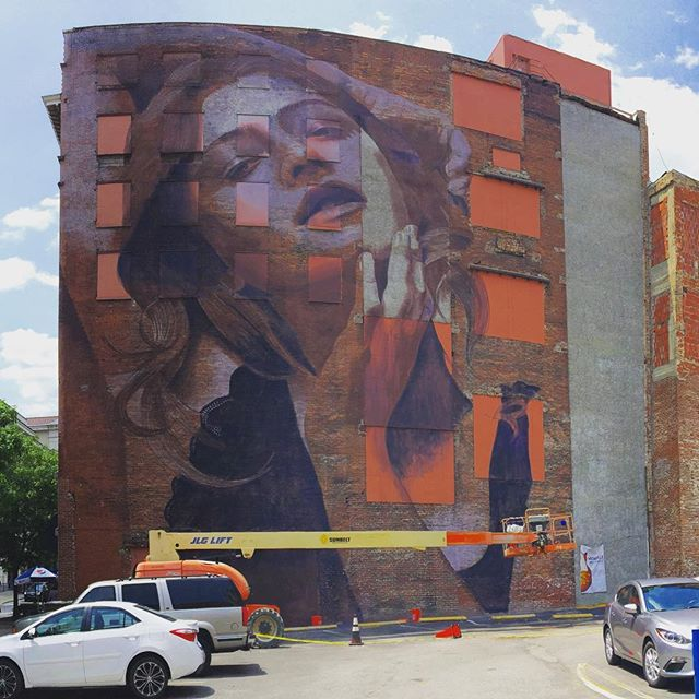 Words can't describe how awesome it is to have this new @r_o_n_e piece going up in #nashville. #art #streetart #finally
