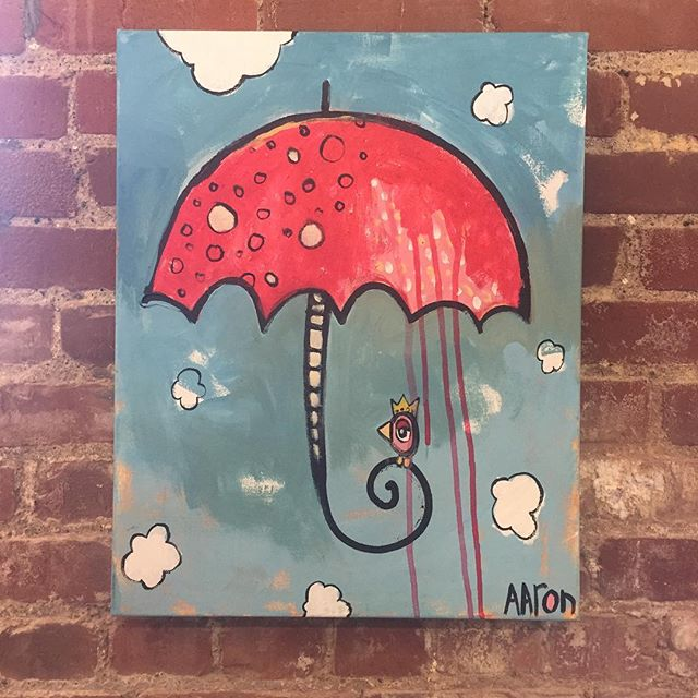 New painting, 16x20. #aarongrayum #umbrella #bird #art #nashville