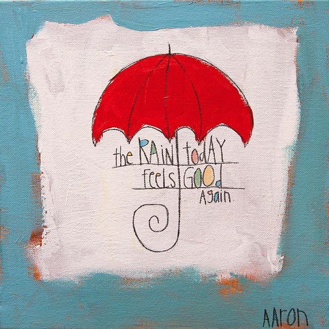 "🏻 CHRISTMAS SALE!! ""RAIN TODAY"" - 12"" x 12""Orig: $200 |  SALE: $125#aarongrayum #art #nashville #umbrella #words #localart"