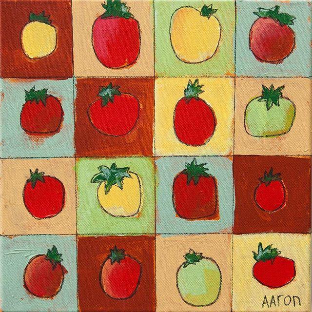 "🏻 CHRISTMAS SALE!!""SIXTEEN TOMATOES"" - 10"" x 10""Orig: $150 |  SALE: $85#aarongrayum #art #nashville #tomatoes #tomato #fruit #vegetable #food"